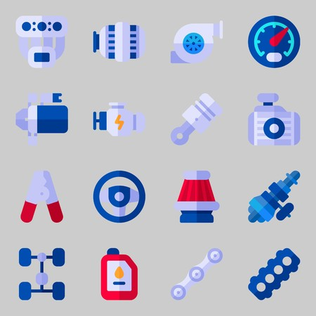 Icon set about car engine with pliers, engine, steering wheel, motor, gauge and air filter. Vectores