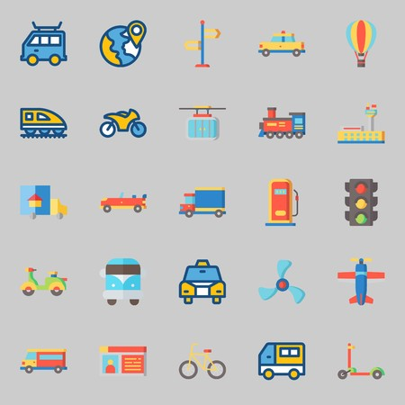 Icons set about Transportation. with propeller, taxi, locomotive, car, location and sport car