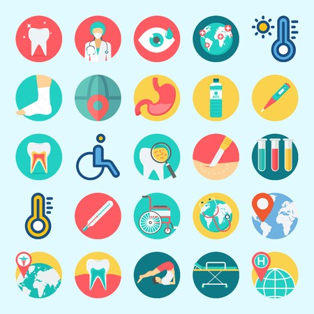 Icons set about Medical with visibility, water, surgeon, teeth, tooth and thermometer