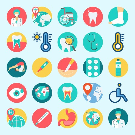 icons set about Medical. with tablets, water, sprain, yoga, tooth and stomach Illustration