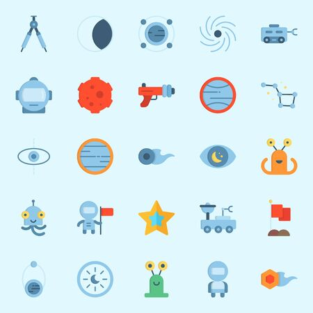 Icon set about universe with orbit, astrology, moon rover, star, blaster and alien. Illustration