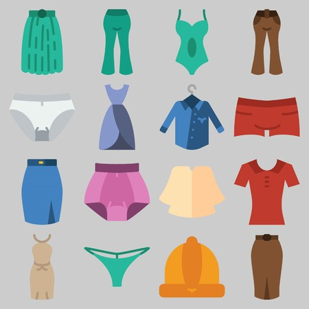 Icon set about Women Clothes with keywords pants, shirt, skirt, dress, thong and swimsuit 일러스트