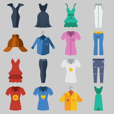 Icon set about clothes and accessories with dress, pants and long sleeve  .