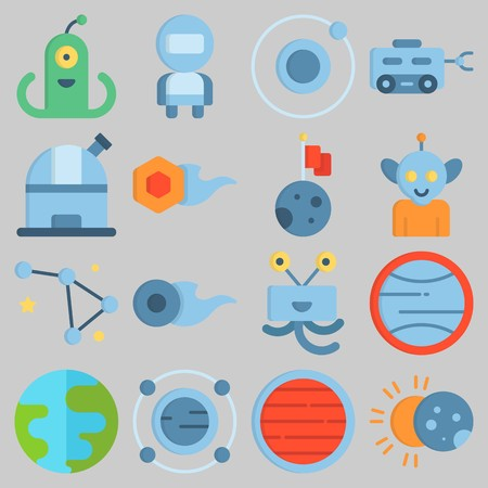 Icon set about Universe with keywords neptune, alien, eclipse, astronaut, uran and observatory