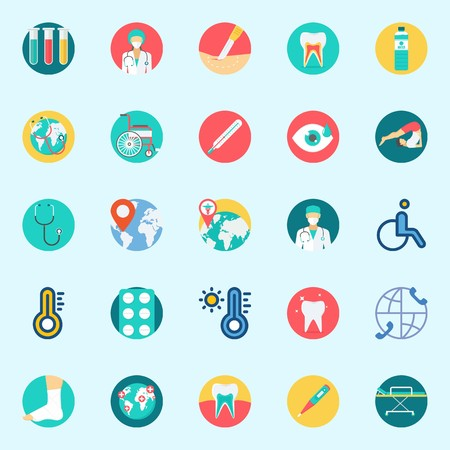 Icon set about medical with water, thermometer, worldwide, tooth, visibility and yoga.