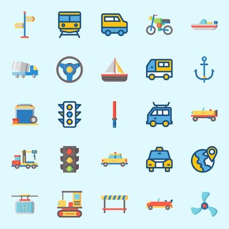 Conjunto de iconos sobre transporte con ancla, volante, teleférico, taxi, todo terreno y tren. Ilustración de vector
