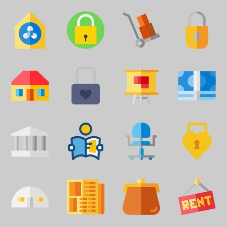 Icon set about real assets with padlock, purses and ventilation. Иллюстрация