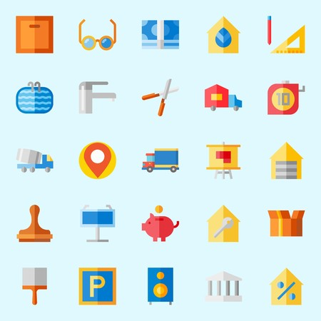 Icon set about real assets with truck, step ladder, placeholder, location, maps and flags and metallic blind. 일러스트