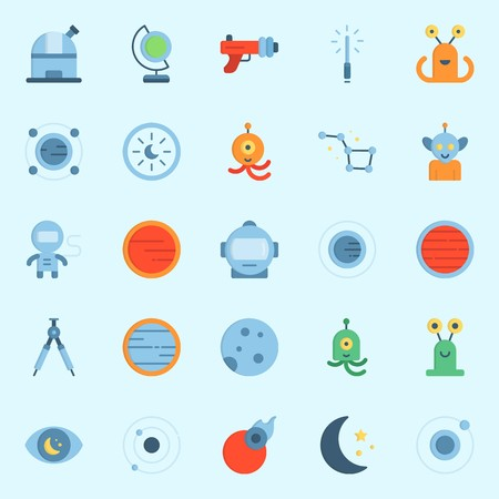 Icon set about universe with compass, blaster, planet, orbit and globe. Illustration
