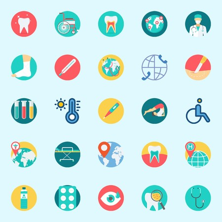 Icon set about medical with stretcher, surgery, tooth, sprain, worldwide and location. Illustration