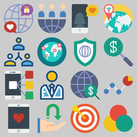 Icon set about Marketing with keywords rgb, networking, target, smartphone, worldwide and teamwork