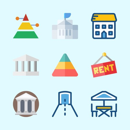 Icons about Construction with monumental, museum, for rent, tunnel, pyramid and school Иллюстрация