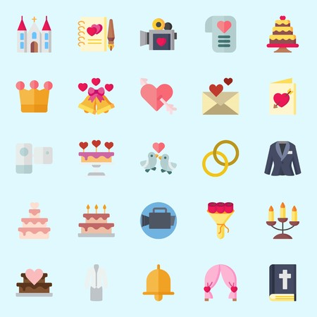 Icon set about wedding with love birds, wedding cake, wedding rings, cupid, camcorder and bouquet. Illustration