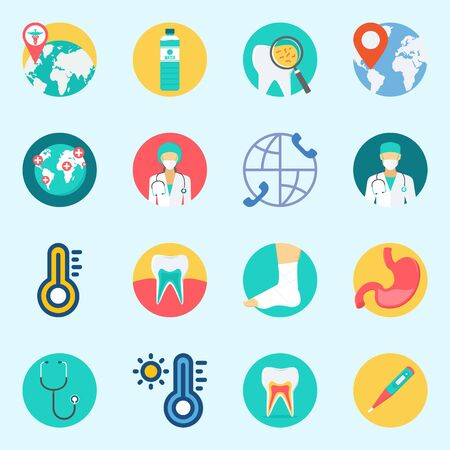 Icon set about medical with stethoscope, surgeon, worldwide, sprain, tooth and thermometer.