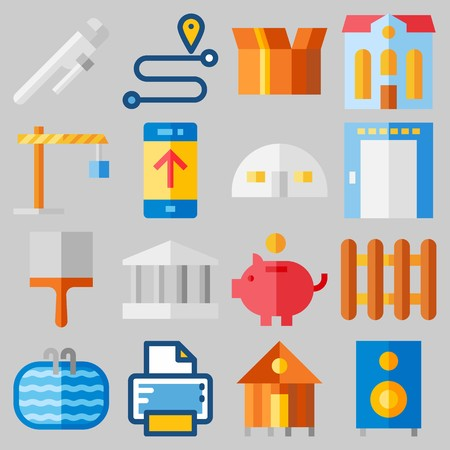 Icon set about Real Assets with keywords route, elevator, work tools, up, packaging and store house