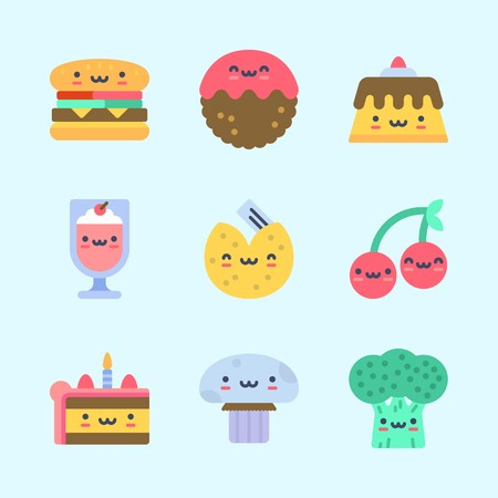 Icons about Food with hamburger, mushroom, fortune cookie, pudding, milkshake and broccoli Standard-Bild - 95586923