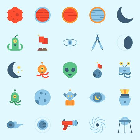 Icon set about universe with mars, meteorite, capsule, comet, blaster and flag.