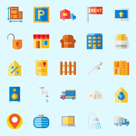 Icon set about real assets with home bus, placeholder, title, percentage, step ladder and sit down. Illustration