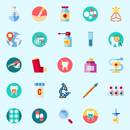 Icons set about Medical with mystical, location, flask, microscope, medicine and nasal spray