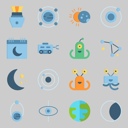 Icon set about universe with alien, capsule and eclipse. Illustration