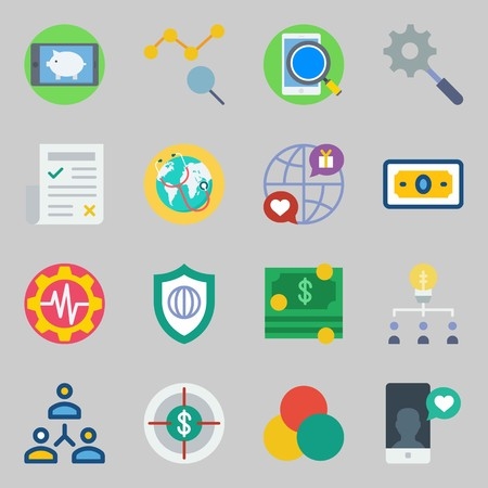 Icon set about marketing with rgb, newspaper and money.