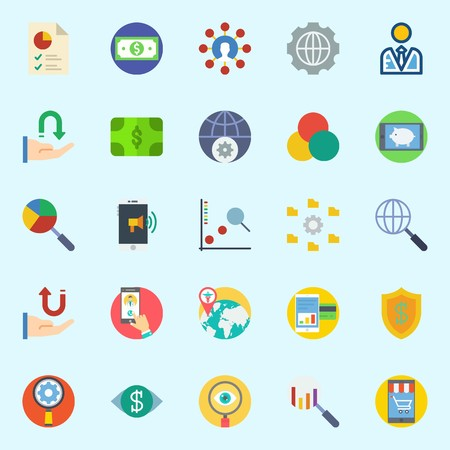 Icon set about marketing with search, worldwide, internet, shield, vision and user.