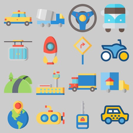 Icon set about transportation with cab, truck, steering wheel and rocket ship.