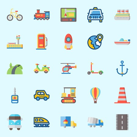 Icon set about transportation with car key, train, anchor, boat, van and truck.