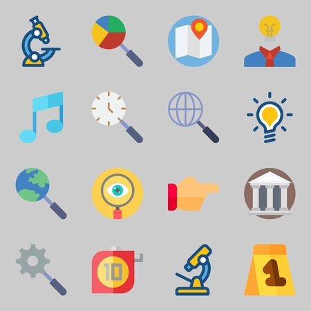 Icon set about inspiration with microscope, music note, map and light bulb.