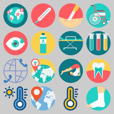 Icon set about Medical with keywords yoga, location, water, surgery, teeth and stretcher Illustration