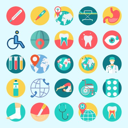 Icons set about Medical with tablets, stethoscope, teeth, surgeon, sprain and surgery