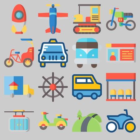 icons set about Transportation . [keywordRandom:3] Illustration