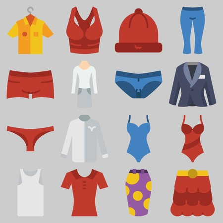 Icon set about Women Clothes with keywords suit, winter hat, panties, skirt, shirt and thank top Illustration
