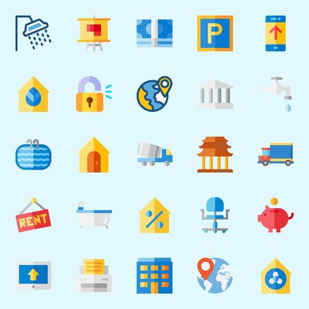 Icons set about Real Assets with real estate, maps and flags, padlock, percentage, wheel chair and location