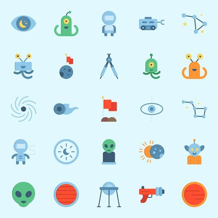 Icon set about Universe. with constellation, astronaut, blaster, observation, neptune and planet