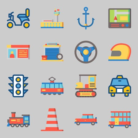 Icons set about Transportation. with anchor, driving license and motorbike
