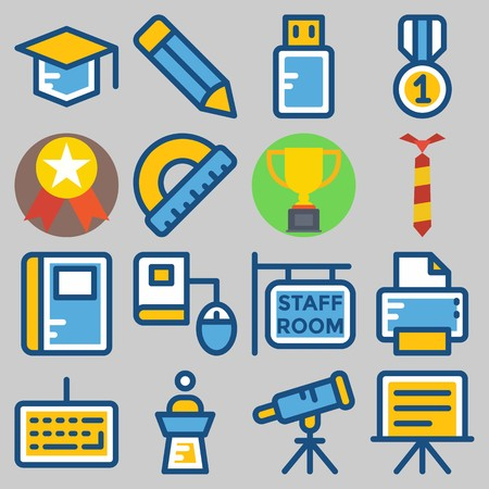 Icon  set about school and education with graduation cap, pencil, medal, ruler, telescope and printer.