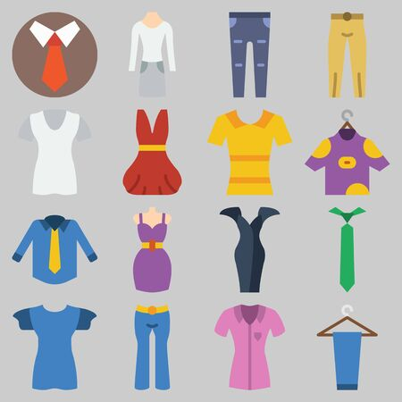 Icon set about clothes and accessories with pants, blouses, dress and tie. Foto de archivo - 95612590