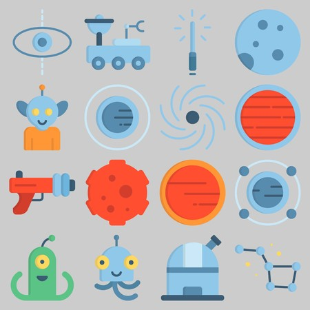 Icon set about Universe with keywords constellation, planet, alien, neptune, meteorite and blaster