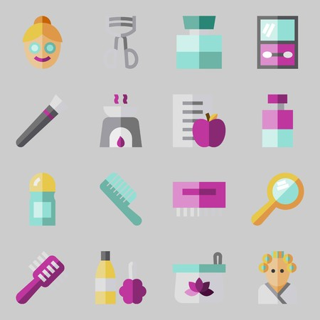 Icon set about beauty with hairbrush, aromatherapy, cosmetics, cologne, diet and deodorant.