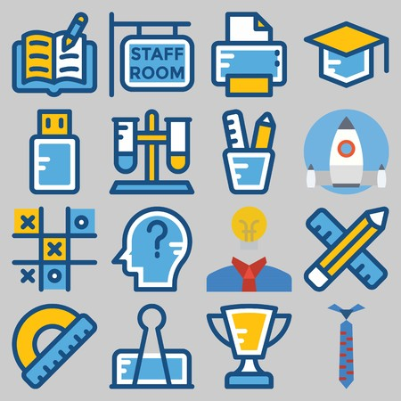 Icon set about school and education with book, printer, graduation cap, ruler and pencil and tie. Stock Illustratie