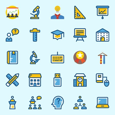 Icon set about school and education with networking, school, online education, notebook, think and keyboard.