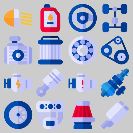 Icon set about car engine with steering wheel, chassis and gears. Illustration