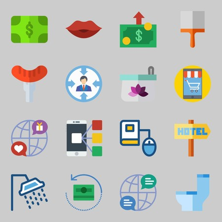 Icon set about lifestyle with hotel sign, shower, money red lips and paint brush. Illustration