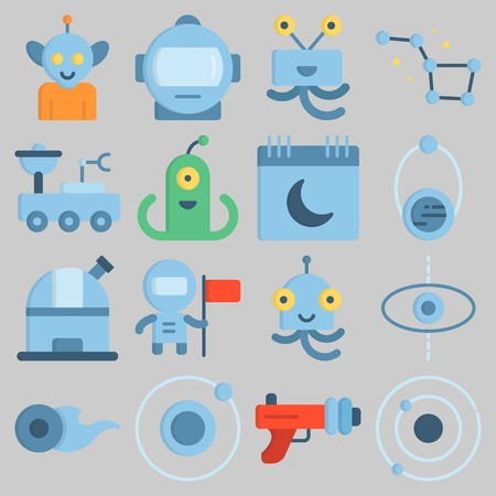 Icon set about Universe with keywords alien, planet, astronaut, orbit, comet and constellation