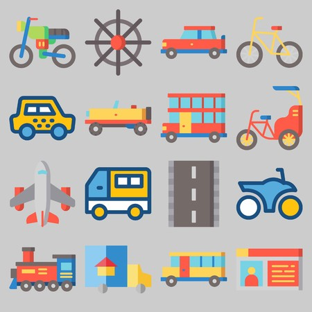 Icon set about transportation with bike, steering wheel, truck and airplane.