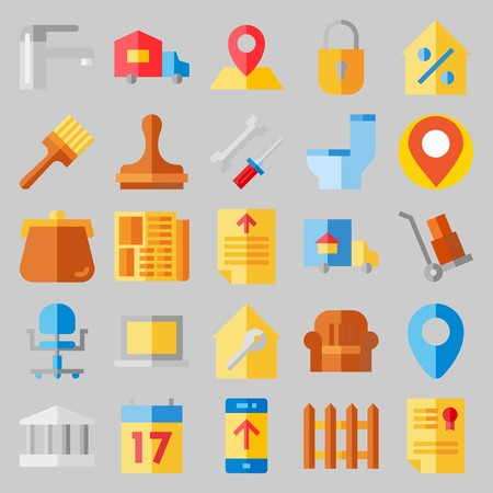 Icon set about real assets with faucet, truck, padlock, paint brush, purse, chair and wooden fence.