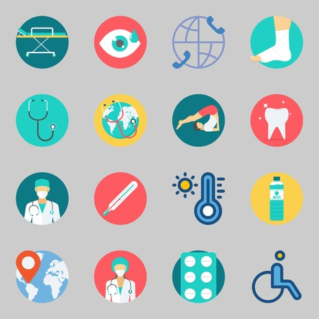 Icon set about medical with visibility, yoga and location.