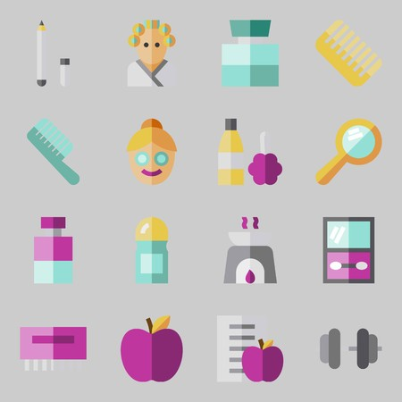 Icon set about Beauty. with eye shadow, apple, dumbbell, aromatherapy, diet and hair curler