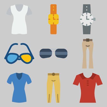 Icon set about men clothes with blouses, watch, sun glasses and pants. Foto de archivo - 95639318